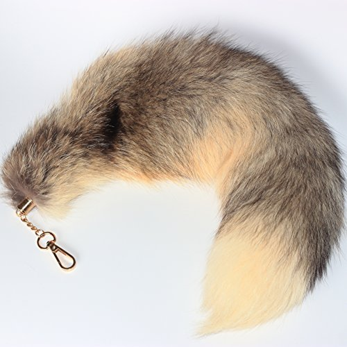 Fosrion Yellow Gray Multi-Color Real Fox Tail Fur Handbag Charms Clip on Keychain Cosplay Toy