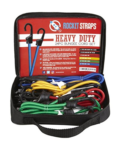ROCKET STRAPS | 24PC Heavy Duty Bungee Cords With Hooks | Bungee Cord Set Includes | Tie Downs | Ball Bungees | Carrying Bag | 50/50 Latex & Rubber Bungee Cords For Extreme Strength ()