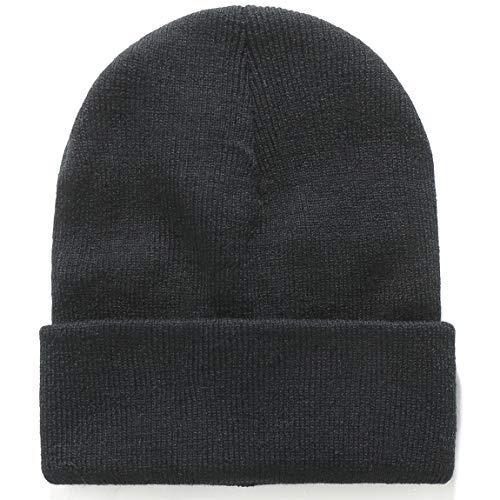 - SSLR Big Kids Winter Warm Beanie Hat Plain Knit Skull Cap (One Size, Black)