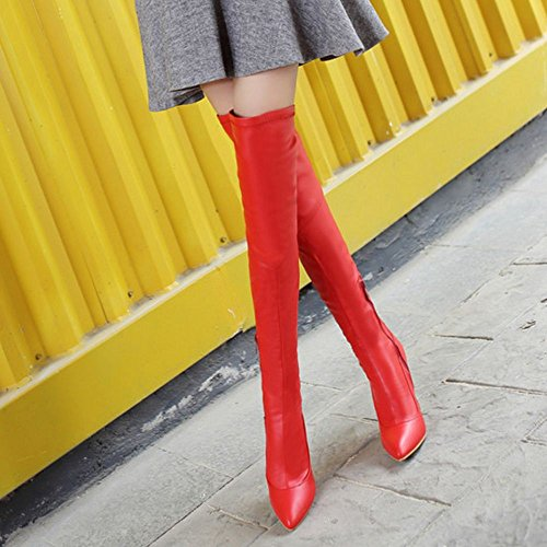 High Women's Taoffen Zipper Fashion Boots Red gpZqpE