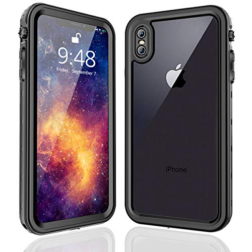 FXXXLTF iPhone Xs Max Waterproof Case, Supporting Wireless Charging Full Body Protective Clear Case Built in Screen Protector, Shockproof Snowproof Case Design for iPhone Xs Max (Black,6.5 inch)