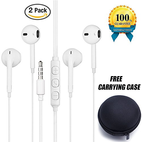Poweron 2 Pack Earbuds 3.5m Jack Universal Headphones Earphones With Remote Control Mic Volume For iPhone iPod iPad All Samsung Galaxy S6 S7 Note 4 5 6 Free Carrying Case