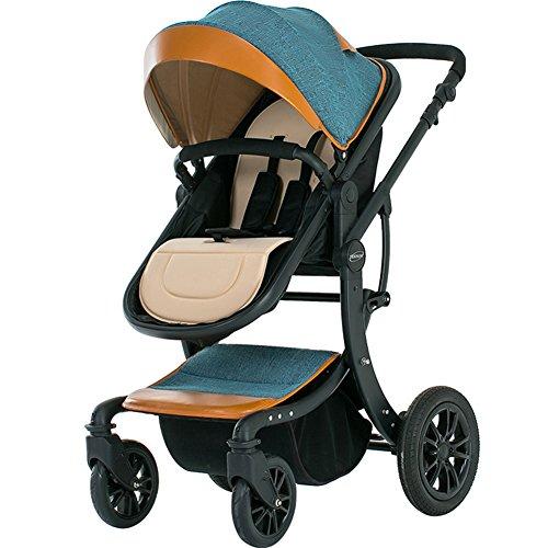 OLizee Luxury Newborn Baby Pram Infant Foldable Anti-Shock High View Stroller Multi-Positon Reclining Seat Pushchair(Linen Hood)