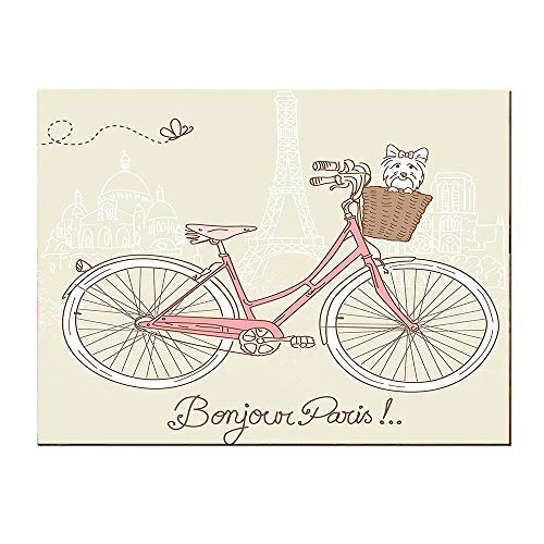- SATVSHOP Art Canvas prints-24Lx36W-Dog omantic Postcard from Paris Pattern Dog in Basket of The Bicycle Illustration Egg Shell and Coral.Self-Adhesive backplane/Detachable Modern Decorative Art.
