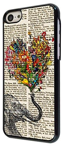 571 - Funky Aztec elephant Floral trunk Love Heart Design iphone 5C Coque Fashion Trend Case Coque Protection Cover plastique et métal - Noir