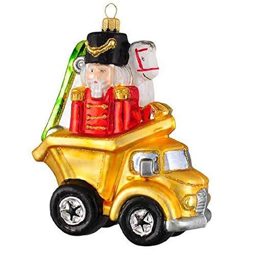 Pinnacle Peak Trading Company Yellow Dump Truck Full of Presents Polish Glass Christmas Tree Ornament Poland