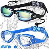 Swim Goggles, Swimming Goggles for Adult Men Women Youth Kids Child & Teen, Swim Glasses No Leaking Anti Fog Triathlon, with Mirrored & Waterproof, Clear Lenses, 2 Pack