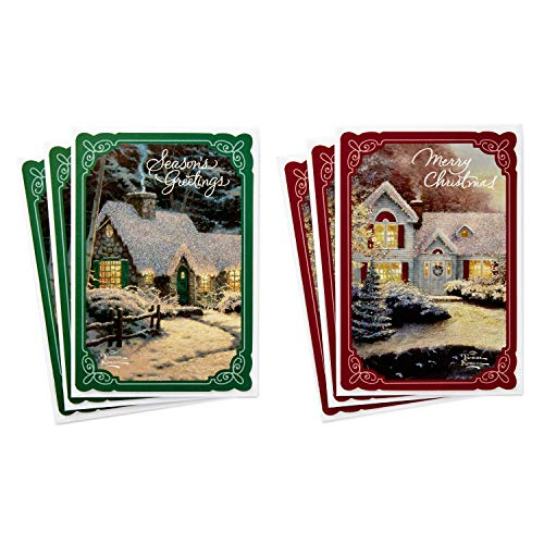 (Hallmark Thomas Kinkade Card Assortment, Snowy Cottages (6 Cards with Envelopes, 2 Designs))