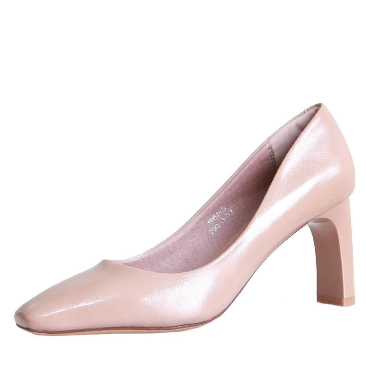 KPHY Damenschuhe Herbst Sexy Dicke Dicke Dicke Sohle 7Cm Hochhackigen Schuhe Einfache Square Kopf Flachen Mund Damenschuhe Dünnen Schuhen.38 Aprikosen-Farbe 67da88