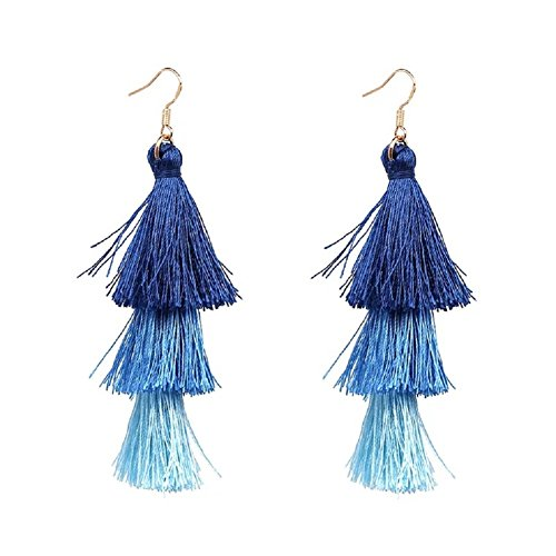 Multi Layered Bohemian Tassel Drop Earrings Colorful Tiered Thread Statement Long Dangle Earrings Gold Plated Fish Hook Blue