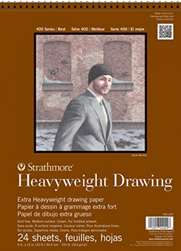 Strathmore 400 Series Heavyweight Drawing Pad, Medium Surface, 18''x24'' Wire Bound, 24 Sheets by Strathmore