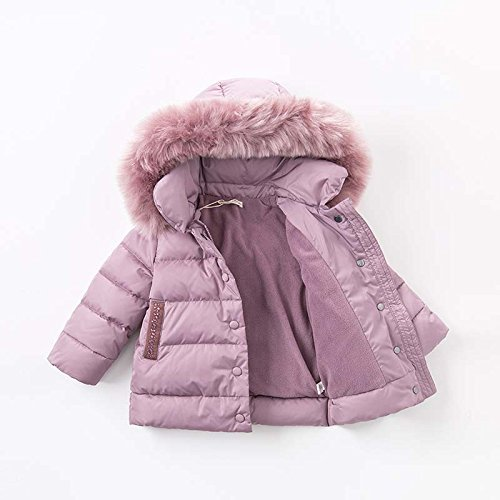 DAVE & BELLA Winter Baby Girls Down Jacket Children White Duck Down Padded Coat Kids Hooded Outerwear - Grey Pink (4T) by DAVE & BELLA (Image #1)