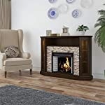 """Pemberly Row Corner LED Fireplace 50"""" TV Stand in Espresso"""