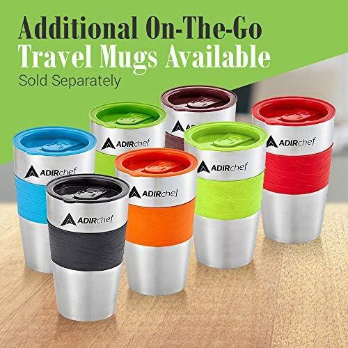 AdirChef Grab N' Go Personal Coffee Maker with 15 ounces. Travel Mug - Single Serve Coffee Maker with Coffee Tumbler - Heavy Duty Sturdy Coffee Maker - Compact Design (Black)