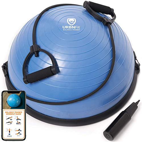 URBNFit Balance Trainer Stability Half Ball with Resistance Bands, Pump and Workout Guide – Improve Core and Ab Strength…