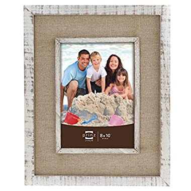 Prinz Shore Side Distressed White Frame with Beige Linen Border, 8 by 10-Inch