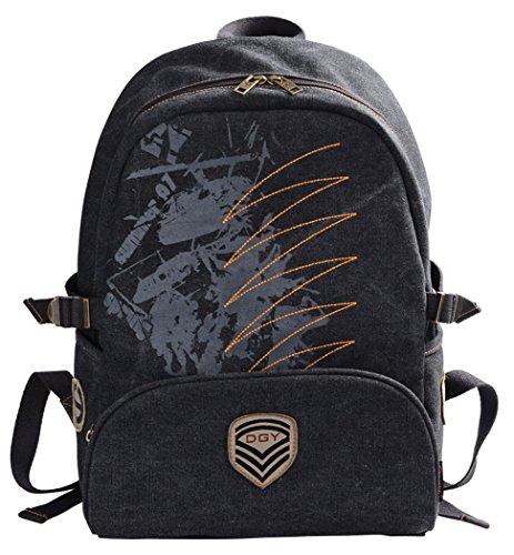 Veenajo Unisex Classic Canvas Backpack School Backpack Laptop Bag Travel Daypack (Black)