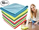 ForNeat Dish Cloths Microfiber Kitchen Towels, Dish Rags Scrub Side, HIGH ABSORBENT, LINT-FREE, STREAK-FREE 12 12-Inch, 10-Pack