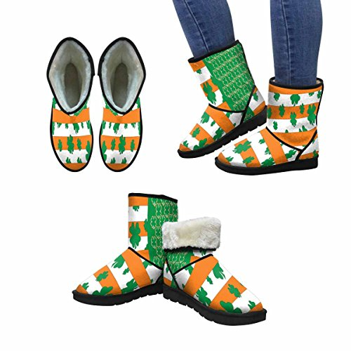 InterestPrint Womens Snow Boots ST Patricks Day Celebrations In America Portrayed Through The American Flag Unique Designed Comfort Winter Boots Multi 1 nvN0NCJye1