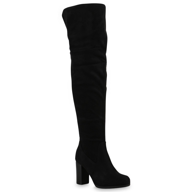 Stiefelparadies Damen Stiefel Overknees mit mit mit Blockabsatz Profilsohle Flandell Schwarz All 2e2883