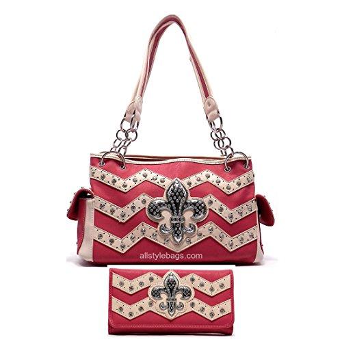 Color Block Fleur De Lis Chevron pink Shoulder wallet Bag set Zigzag rhinestone