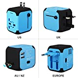 Universal Travel Adapter, GOLDFOX International Travel Charger Power Adapter with Dual USB Charger, All-in-One Worldwide Plug Adapter Charger for UK US AU Europe & Asia, Built-in Safety Fuse, NOT Convert Voltage (Blue)
