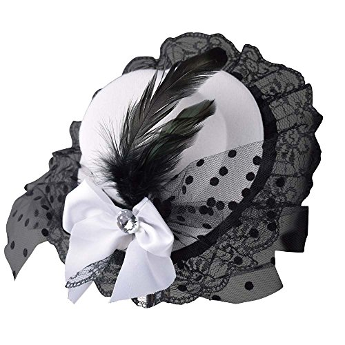 [Weishang Women Bow Hair Clip Lace Feather Mini Top Hat Fascinator Fancy Party (White)] (White Top Hat Fascinator)