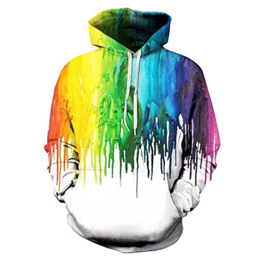 Comeon Pullover Hoodie,Tie Dye Hoodie,Unisex 3D Rainbow Printed Drawstring Pockets Long Sleeve Pullover Hoodie Hooded Sweatshirt (White,S/M)