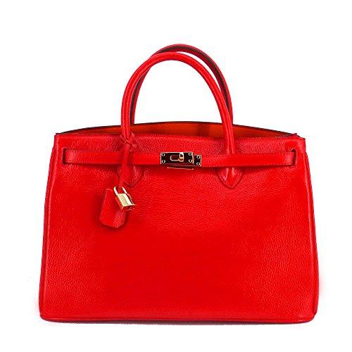 Rouven ICONE40ROTGOLDP - Bolso de asas de Piel para mujer Rojo rojo