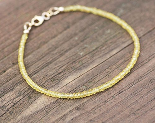 JP_Beads Natural Yellow Sapphire Bracelet in 14K Gold Filled 2.5mm - 3mm