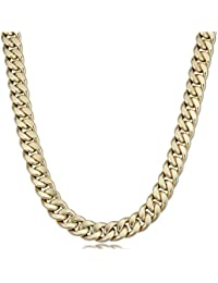 Mens 14k Yellow Gold Curb Link Chain Necklace (12.7 mm, 22 inch)