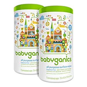 Babyganics All Purpose Surface Wipes, Fragrance Free, 150...