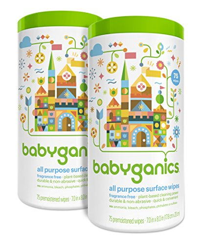 (Babyganics All Purpose Surface Wipes, Fragrance Free, 150 Count (contains Two 75-count canisters))