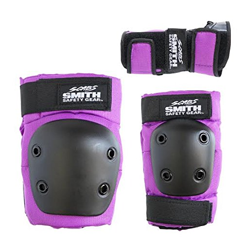 Smith Safety Gear Scabs Knee/Elbow/Wrist Guard Set (Pack of 3), Purple