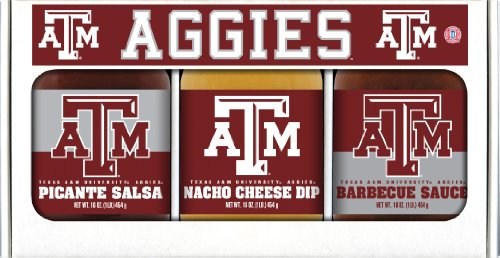 Texas A&M Aggies NCAA Triple Play Gift Set (16oz BBQ Sauce, 16oz Picante Salsa, 16oz Cheeze Dip)