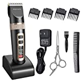 Hair Clippers for Men, ETEREAUTY Cordless Beard Trimmer Rechargeable Hair Trimmers Low Noise Hair Cutting Kit with 4 Guide Combs, Titanium Ceramic Blade, 2000mAh Lithium Ion and LCD Display