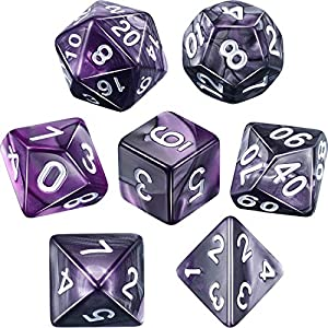 Polyhedral 7-Die Dice Set for Dungeons and Dragons with Black Pouch (Purple Black)