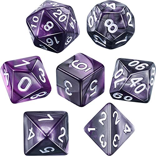 (Polyhedral 7-Die Dice Set for Dungeons and Dragons with Black Pouch (Purple)
