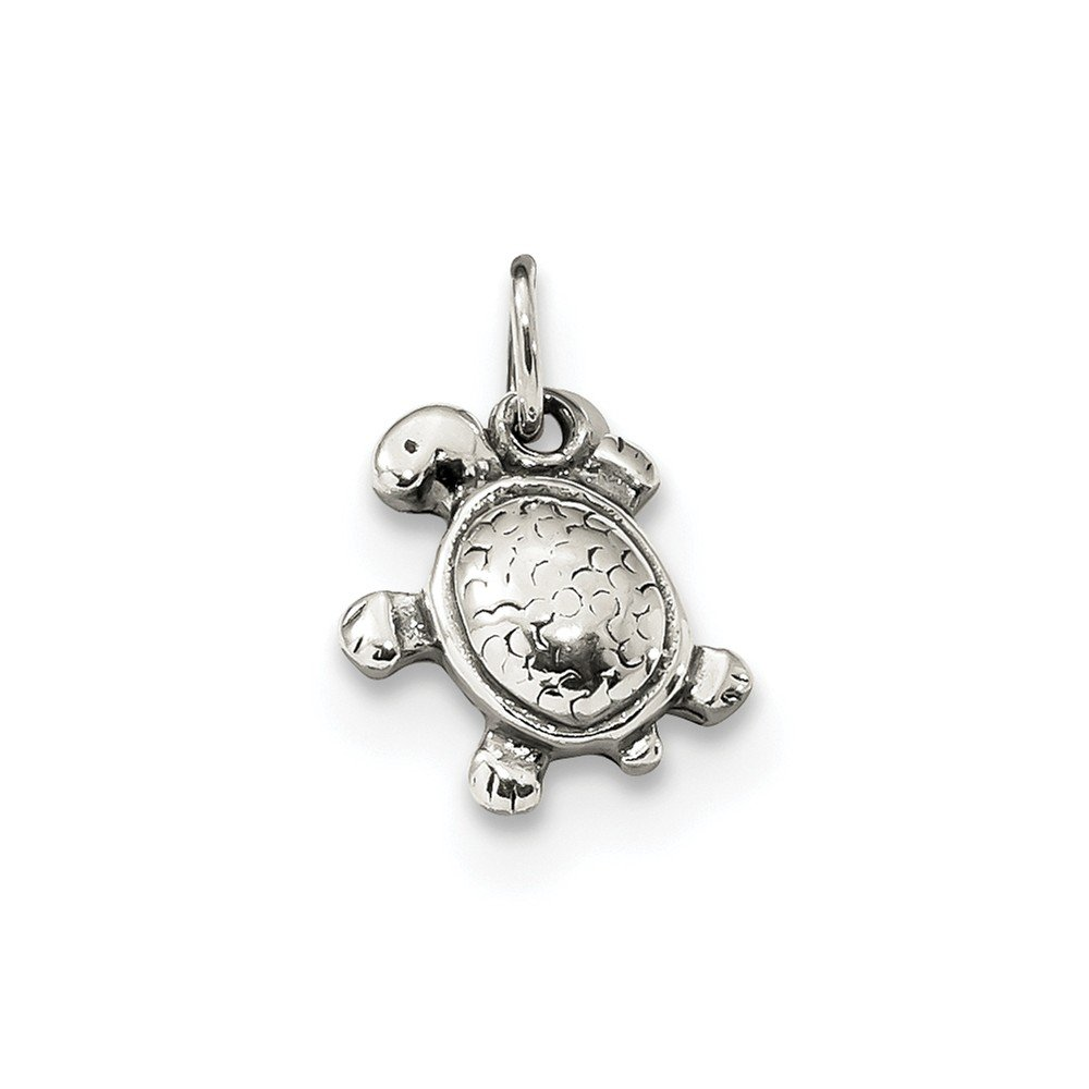 Jewel Tie 925 Sterling Silver Antiqued-Style Turtle Pendant Charm 9mm x 16mm