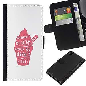 EJOY---La carpeta del tirón la caja de cuero de alta calidad de la PU Caso protector / Sony Xperia Z2 D6502 / --Pink Cream Strawberry Caos Positivo