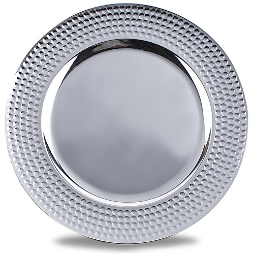 FANTASTIC :)  Round 13 Inch Plastic Charger Plates with Metallic Finish (1, Hammer Edge Silver)