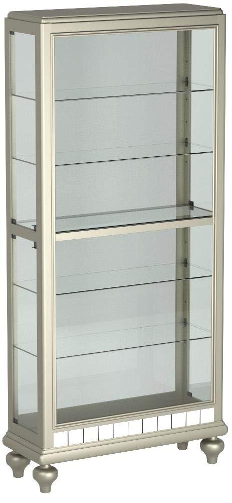 Pulaski P021568 Mirrored Metallic Side Entry Curio Cabinet 35.3'' x 13.3'' x 78.0''