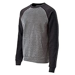 Holloway Roster Pocketed Crew Neck Sweatshirt-Vintage Grey/Vintage Black X-Large