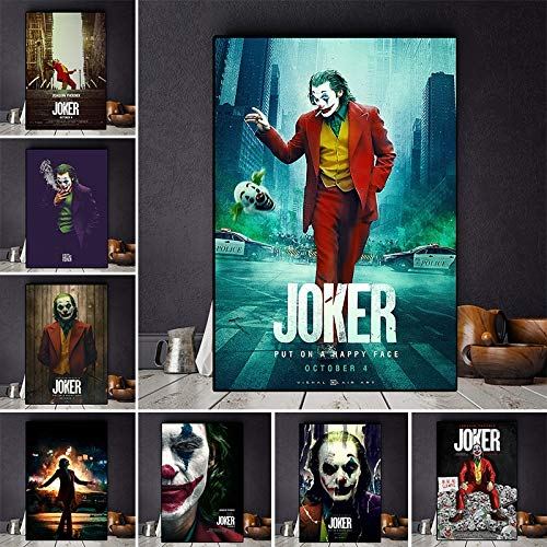 Joaquin Phoenix Canvas Prints The Joker Poster Movie Cuadros Pintura al oleo sobre poster Imagen de Arte de Pared para Sala de Estar Decoracion para el hogar 40X60cm Sin Marco