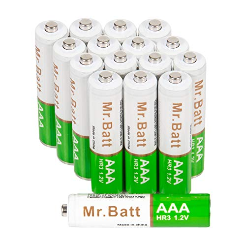 AAA Rechargeable Batteries, Mr.Batt Pre-Charged NiMH AAA Batteries, 700mAh (16 Pack)