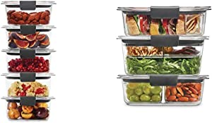 Rubbermaid Leak-Proof Brilliance Food Storage Set, 5-Pack, Clear & Leak-Proof Brilliance Food Storage 12-Piece Plastic Containers with Lids | Bento Box Style Sandwich and Salad Lunch Kit, Clear