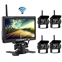 "Podofo Wireless Backup Camera System with 7"" LCD Color Monitor, 4 Rear View Cameras IR Night Vision Waterproof For RV Agricultural Vehicle"