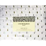 Cynthia Rowley 4 Piece Queen Size Bed Sheet Set Small Christmas Trees Metallic Gold Silver on White