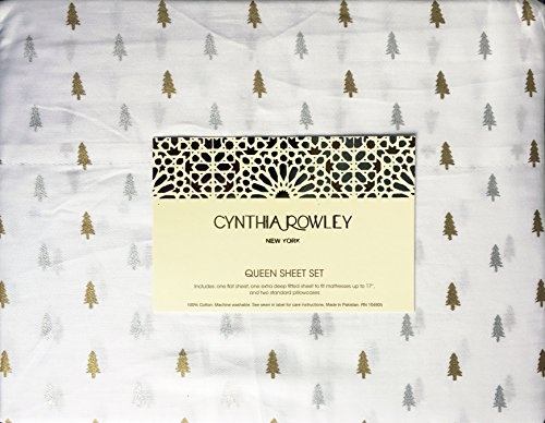 Cynthia Rowley 4 Piece Queen Size Bed Sheet Set Small Christmas Trees Metallic Gold Silver on White - Metallic Queen Size Bed