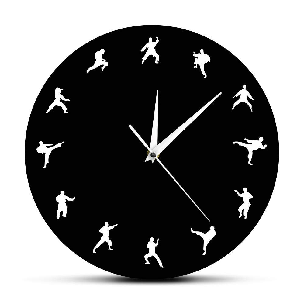 Onmyfly Taekwondo Karate Wall Clock Martial Arts Karate Club Modern Wall Decor Fighting Sports Kung Fu Exclusive Wall Clock Watch,30 cm by Onmyfly